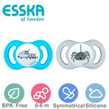 Esska Happy mini sutter, symmetriske, silikone, str.1 (blå, transparent)