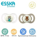 Esska Happy mini GLOW sutter, symmetriske, silikone str.1 (beige, transparent)